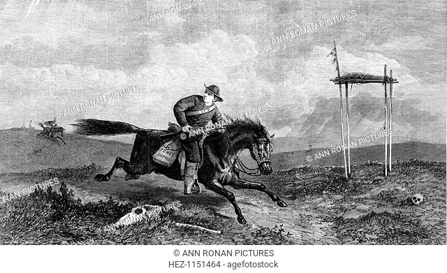 Pony Express rider crossing hostile country pursued by native Americans, 1861. Horse and rider relay mail service took about 10 days to cover 1