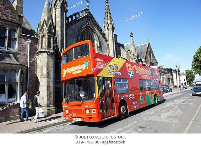 red open top deck city sightseeing bus tour inverness highland scotland uk
