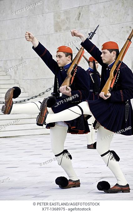 Evzones, an elite core of Greek soldiers used to guard the tomb of the unknown soldier in Syndagma Square in the center of Athens
