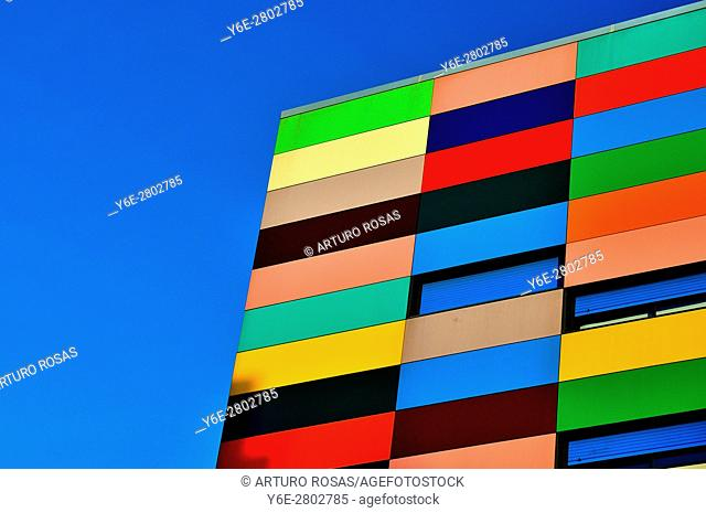 Multicolor building in La Peseta Neighborhood, Madrid