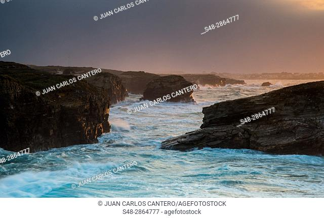 Playa de Las Catedrales (Beach of the Cathedrals) is the turistic name of Playa de Aguas Santas (Beach of the Holy Waters) , Ribadeo, in the Cantabrian coast