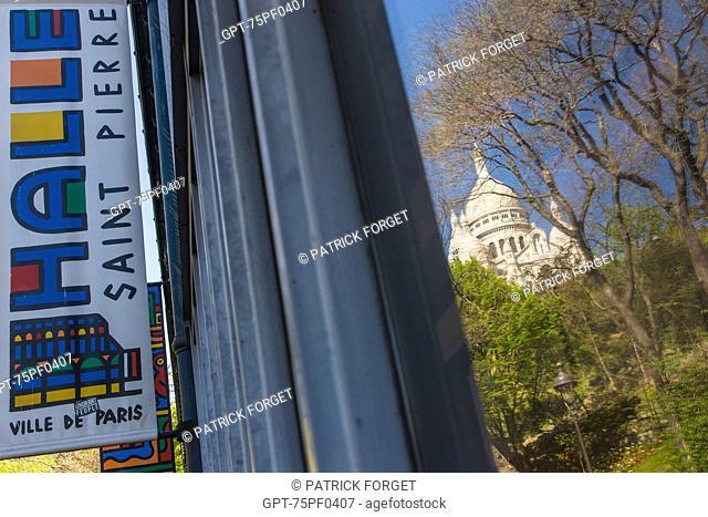 REFLECTION OF SACRE COEUR BASILICA IN A WINDOW OF THE HALLE SAINT PIERRE, RUE RONSARD, BUTTE MONTMARTRE, 18TH ARRONDISSEMENT, PARIS, FRANCE