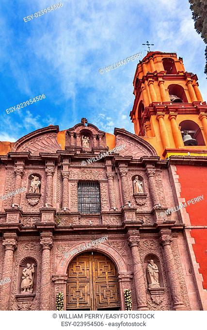 Templo Del Oratorio De San Felipe Neri Church Facade San Miguel de Allende, Mexico. Built in 1700s named for San Felipe Neri from Florence who founded Oratorio...