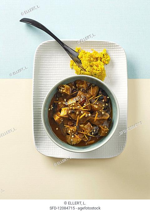 Lamb tagine with tofu and couscous