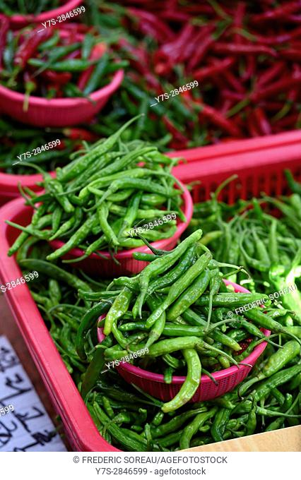 Chili Peppers for sale in Busan market, South Korea