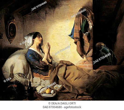 The abandoned or The fallen woman, 1844, by Giuseppe Molteni (1800-1867).  Brescia, Pinacoteca Tosio-Martinengo (Art Gallery)