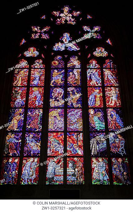 Stained glass windows, St Vitus Cathedral, Prague Castle, Prague, Czech Republic