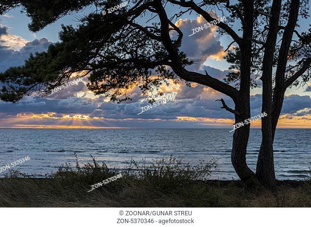 Abendstimmung ueber dem Meer, Gotland, Schweden, September 2013