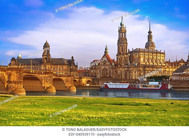 Dresden skyline and Elbe river in Saxony of Germany