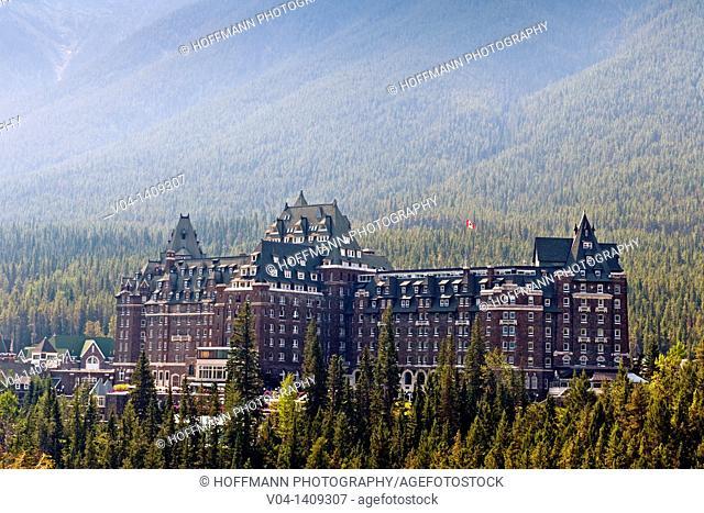 The imposing Banff Springs Hotel, Banff National Park, Alberta, Canada