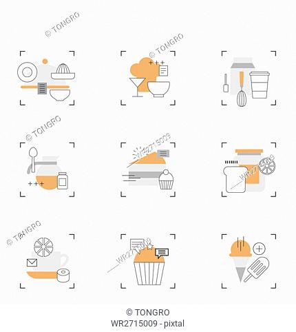 Various icons related to food