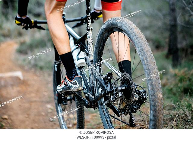 Close-up of mountainbiker on forest trail