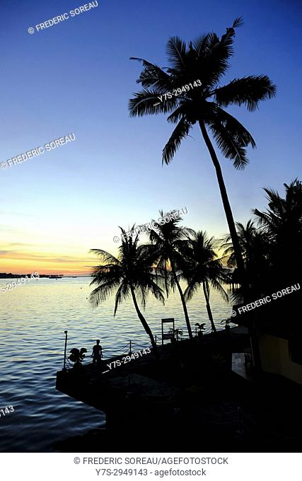 Sunset at Losari beach, Makassar, Sulawesi, Indonesia, South East Asia