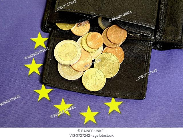 GERMANY, BONN, 31.05.2013, Euro coins , wallet , EU-Flag - Bonn, Northrhine-, Germany, 31/05/2013