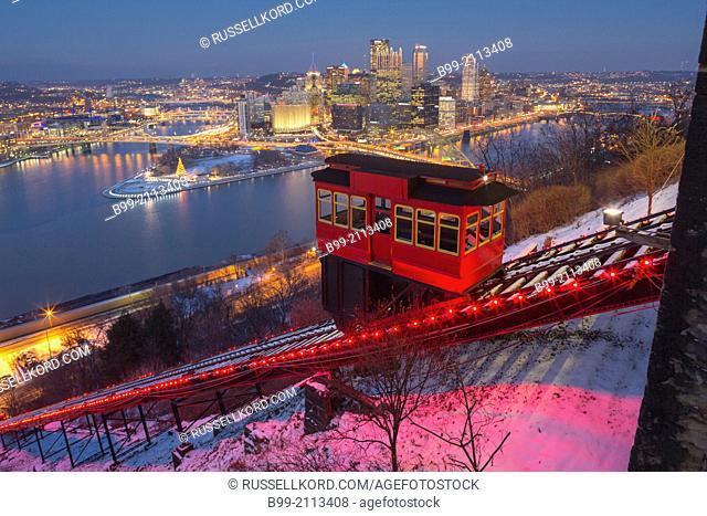 Christmas Lights Duquesne Incline Red Cable Car Mount Washington Pittsburgh Skyline Pennsylvania Usa
