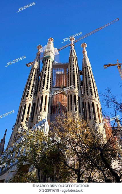 The Basilica i Temple Expiatori de la Sagrada Família Basilica and Expiatory Church of the Holy Family is a large Roman Catholic church in Barcelona