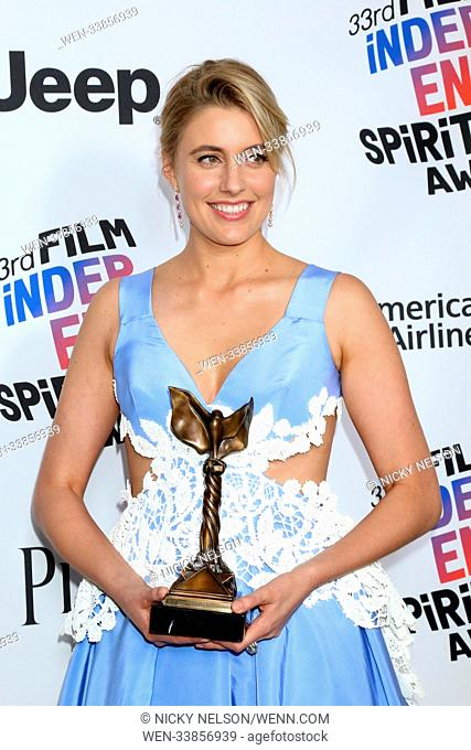 33rd Annual Film Independent Spirit Awards at Santa Monica Pier - Press Room Featuring: Greta Gerwig Where: Santa Monica, California