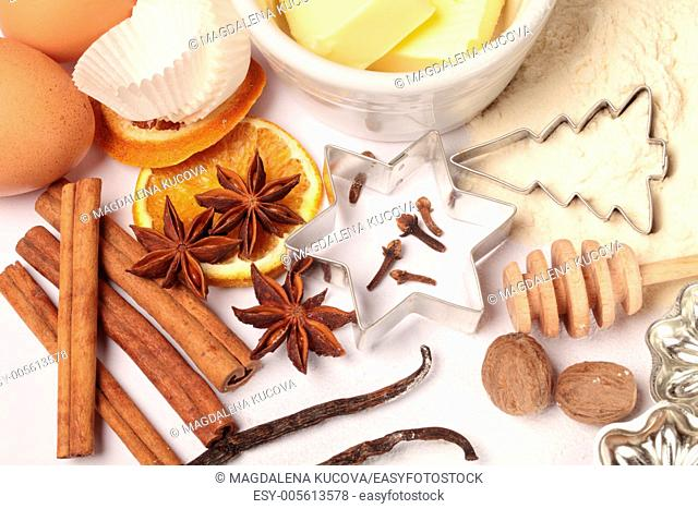 Baking utensils, spices and food ingredients for Christmas baking