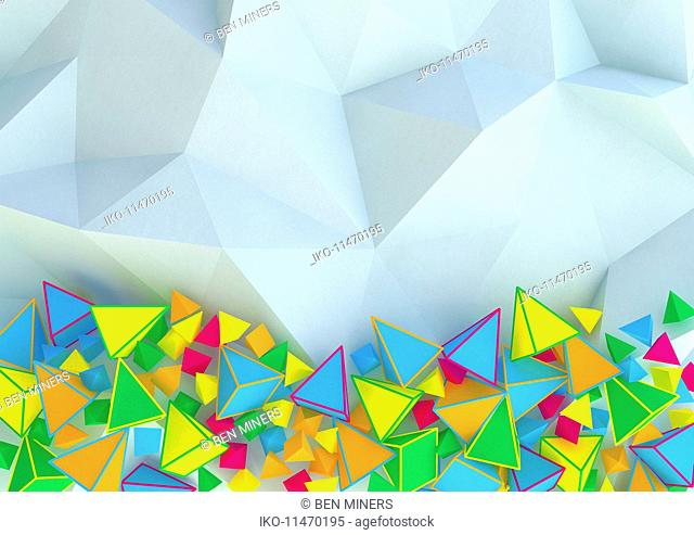 Abstract three dimensional pattern of contrasting pyramid shapes