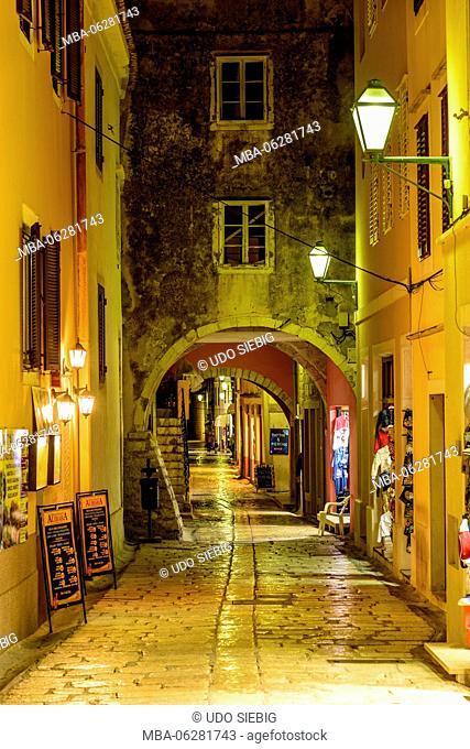 Croatia, Kvarner Gulf, Rab Island, Rab Town, Old Town, Srednja Street, evening mood