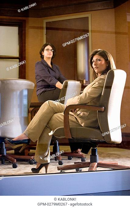 Two young businesswomen in conference room