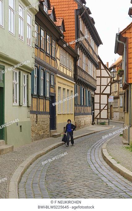 boy walking through alley, Germany, Saxony-Anhalt, Harz, Quedlinburg