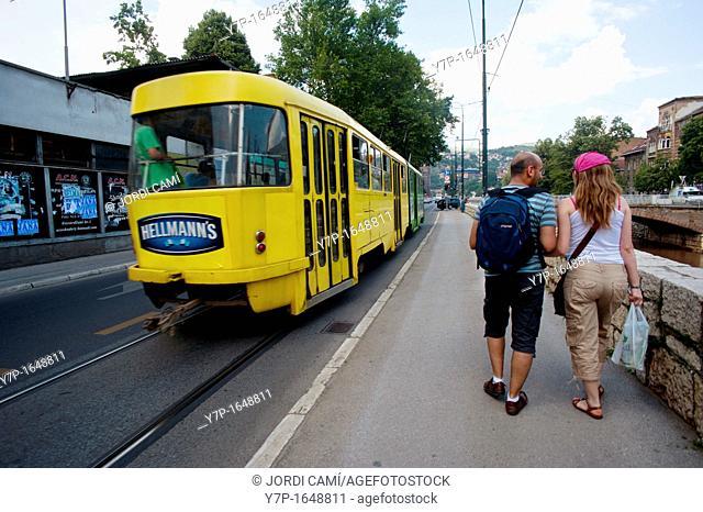 Tram at Obala Kulina Bana street Sarajevo Bosnia- Herzegovina  Balkans Europe