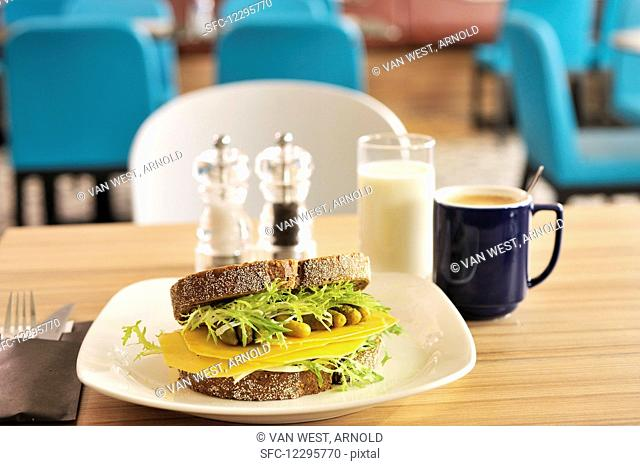 Old Dutch Cheese Sandwich with pickels and salad coffee and a glas of milk