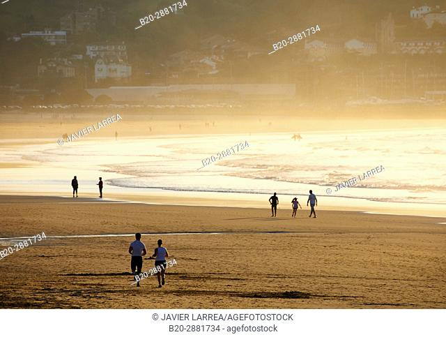Walking, Beach, Hendaye, Aquitaine, Pyrenees Atlantiques, France