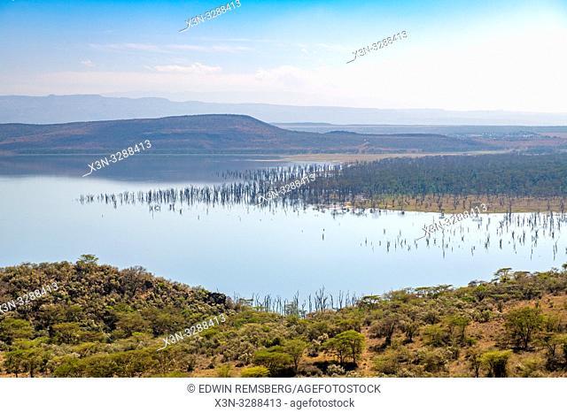 A landscape view of Lake Nakuru National Park from Baboon Cliff, Kenya