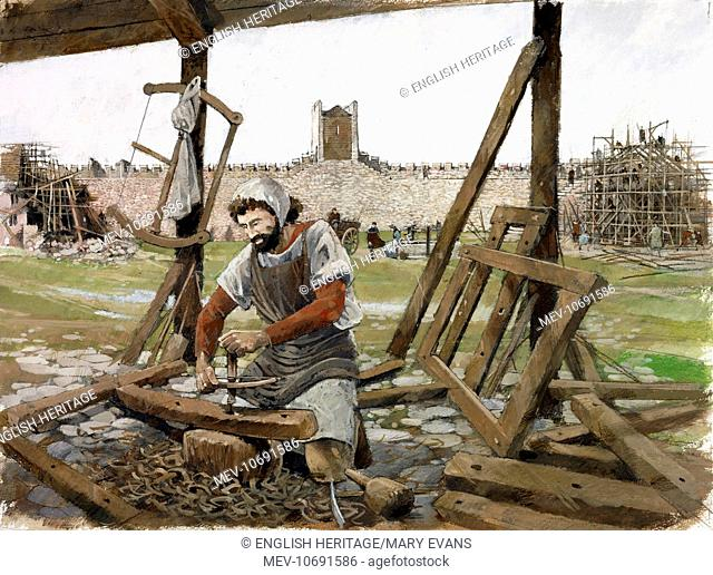 Scarborough Castle, North Yorkshire. Reconstruction drawing of the inner bailey with carpenter at work in the late 12th century by Ivan Lapper