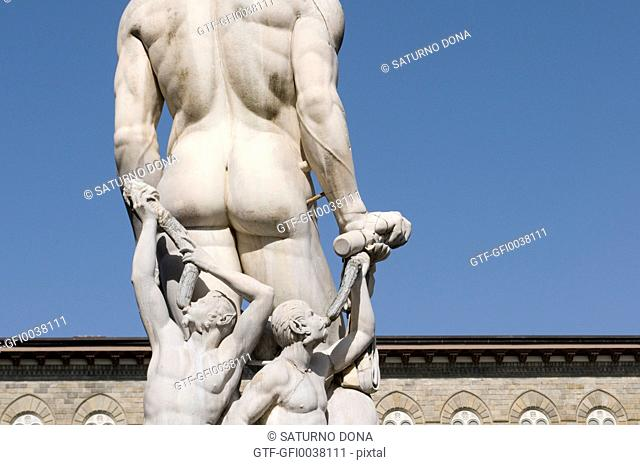 back view of Neptune statue in Florence, Italy