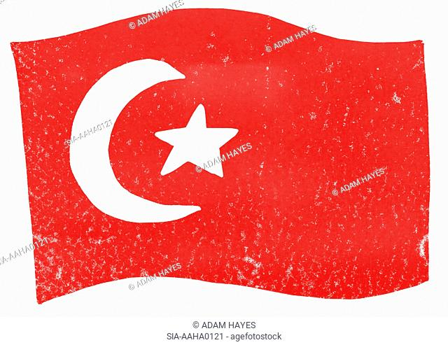 View of Turkish flag