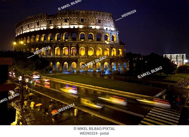 The Colosseum or Roman Coliseum at night. Rome, Italy