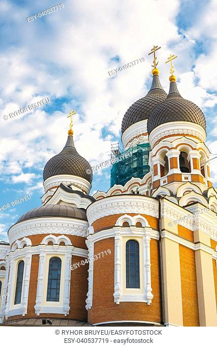 Domes Of Alexander Nevsky Cathedral On Sky Background. Orthodox Cathedral Church In The Tallinn Old Town, Estonia