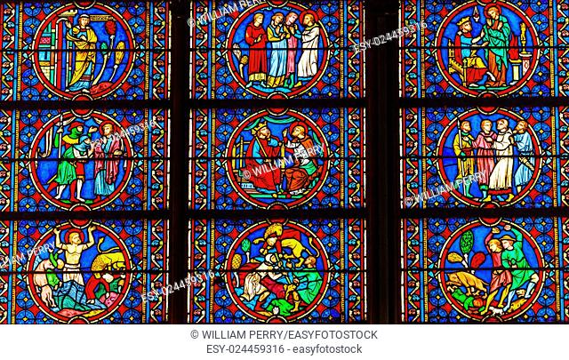 Kings Saints Medieval Stories Stained Glass Notre Dame Cathedral Paris France. Notre Dame was built between 1163 and 1250AD