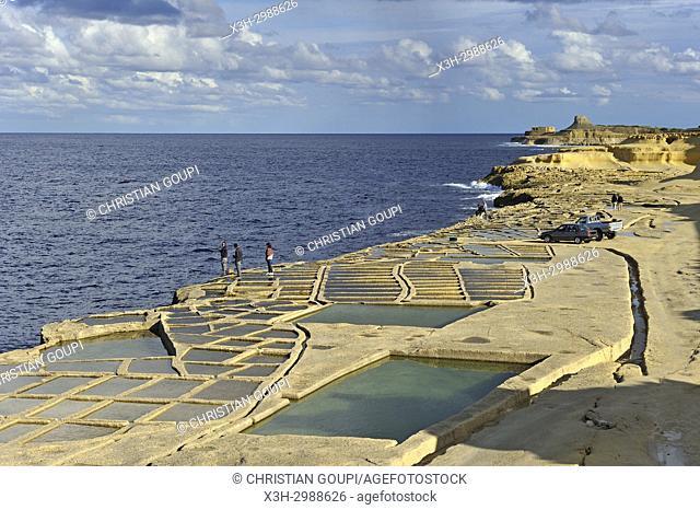 salt pans on the north coast of Gozo Island, Malta, Mediterranean Sea, Southern Europe