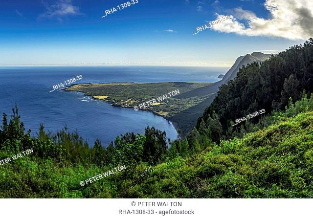 Overview of Kalaupapa peninsula showing the island's Leper Colony, Hawaii, United States of America