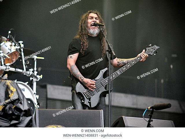 Sonisphere Festival held at Hietaniemi beach - Performances Featuring: Slayer,Tom Araya Where: Helsinki, Finland When: 28 May 2014 Credit: WENN.com