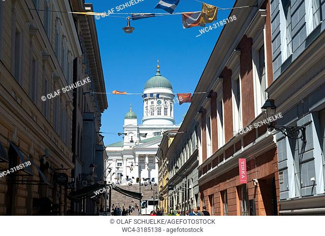 Helsinki, Finland, Europe - Helsinki Cathedral at Senate Square, also known as White Cathedral or Helsingin Tuomiokirkko