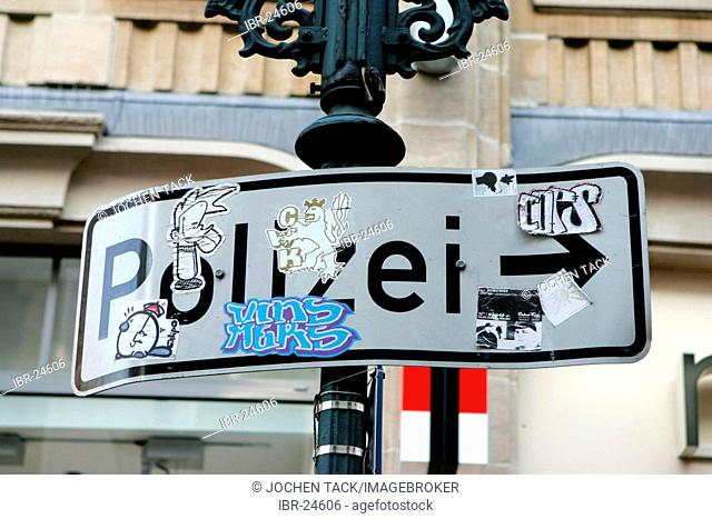 DEU, Germany : Sign to a police station in the oldtown of Duesseldorf
