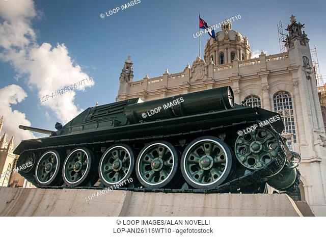A Russian tank used by cuban President Fidel Castro during the Bay of Pigs invasion outside the Museum of the Revolution