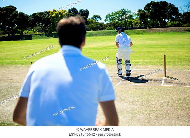 Rear view of man standing by batsman at cricket field