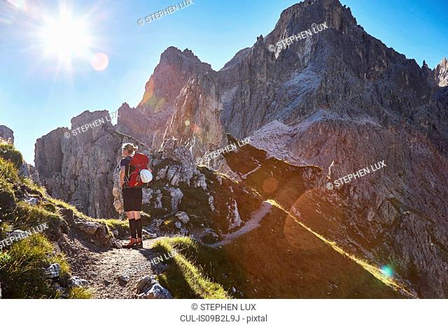 Rear view of female hiker hiking in Dolomites, Sexten, South Tyrol, Italy