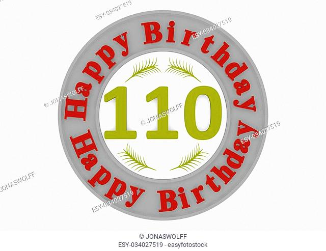 red lettering Happy Birthday in a gray circle around a big yellow number as the age