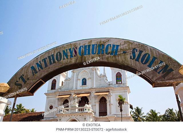 Sign board of a church, St. Anthony's Church, Siolim, North Goa, Goa, India