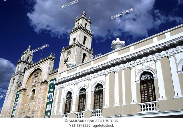 Facades of the cathedral and the modern art museum, Merida, Yucatan, Mexico