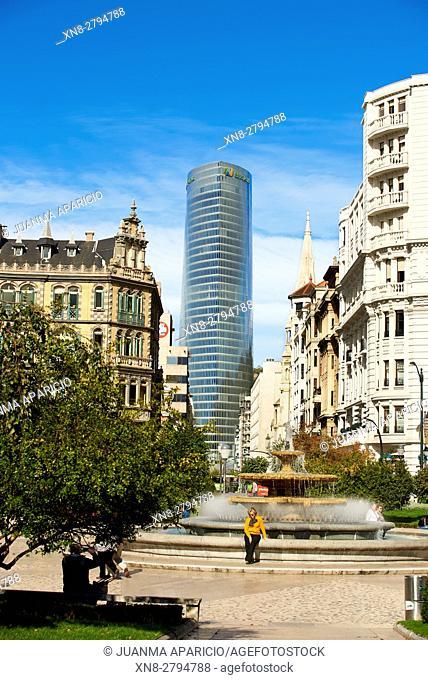 Fountain in the Plaza de Don Federico Moyua, Bilbao, Biscay, Basque Country, Euskadi, Euskal Herria, Spain, Europe