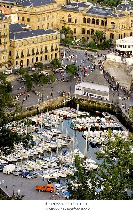view of the marina and the town hall of Donostia, San Sebastian, Gipuzkoa, Basque Country, Spain