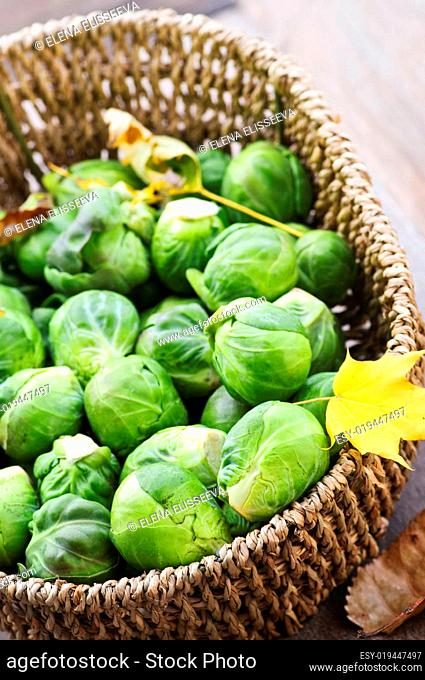 Basket of brussels sprouts